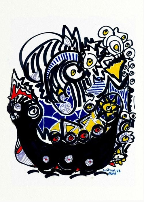 Viking Ship Greeting Card featuring the drawing Viking Ship by Wilson Abad