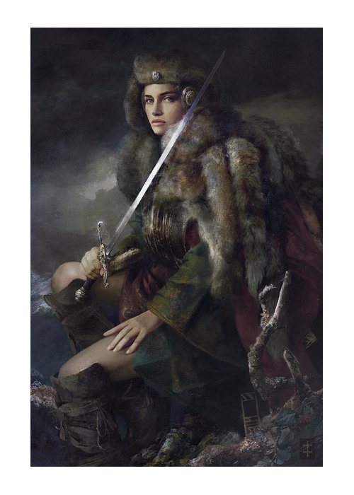 Warrioress Greeting Card featuring the painting Viktoria by Eve Ventrue