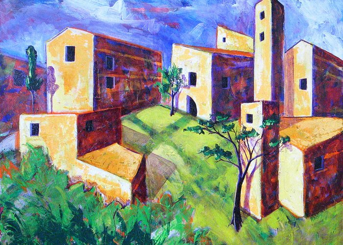 Landscape Greeting Card featuring the painting Villa by Rollin Kocsis