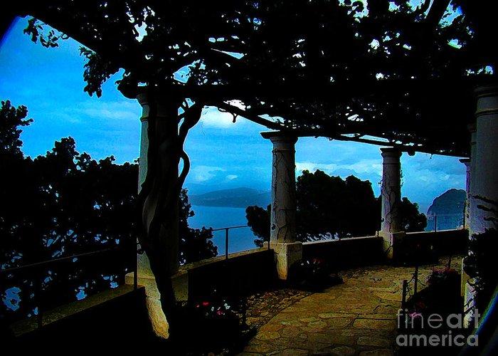 Villa Greeting Card featuring the photograph Villa San Michele At Anacapri, Italy - Painting by Al Bourassa