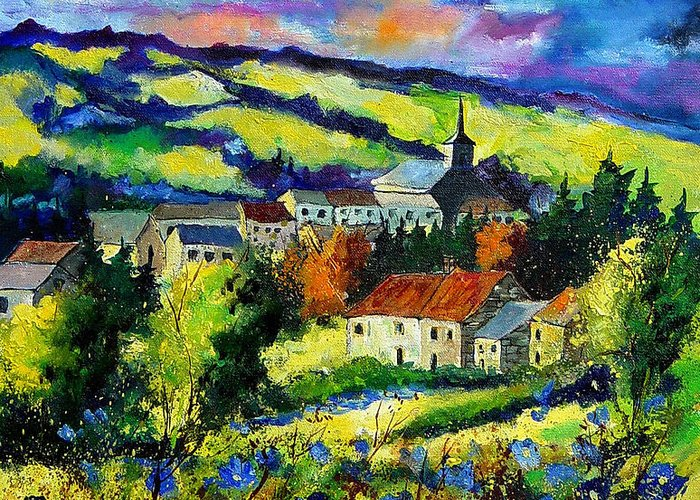 Landscape Greeting Card featuring the painting Village And Blue Poppies by Pol Ledent