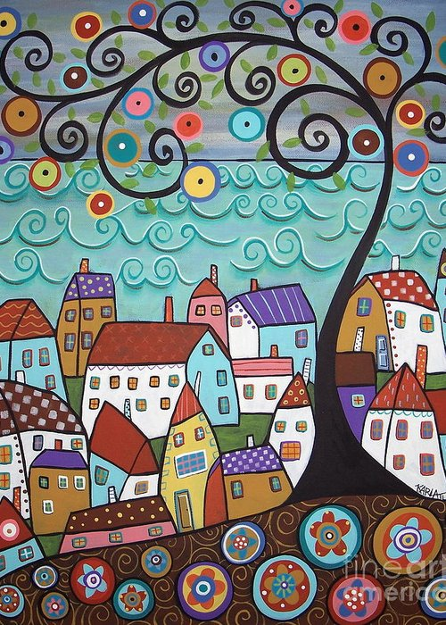 Seascape Greeting Card featuring the painting Village By The Sea by Karla Gerard