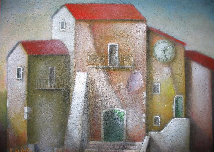 Greeting Card featuring the painting Village Clock Tower by Alfredo DeCurtis