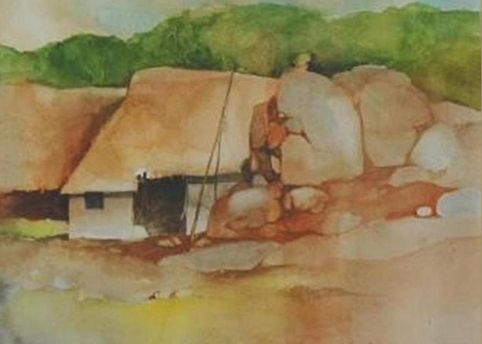 Village Greeting Card featuring the painting Village Huts On Rockside by Prakash Sree S N
