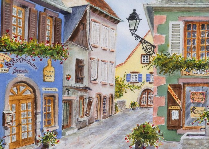 Village Greeting Card featuring the painting Village In Alsace by Mary Ellen Mueller Legault