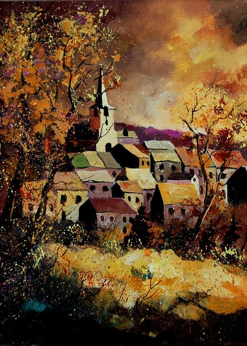 River Greeting Card featuring the painting Village In Fall by Pol Ledent