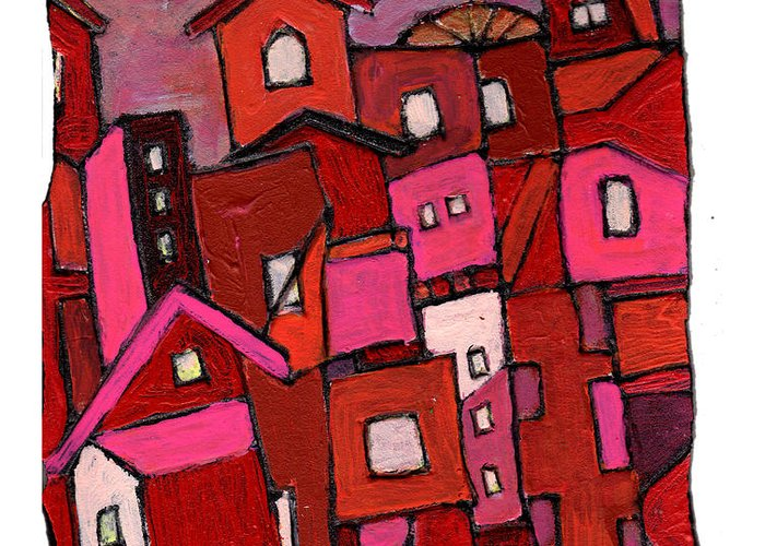 Village Greeting Card featuring the painting Village In Pink by Wayne Potrafka