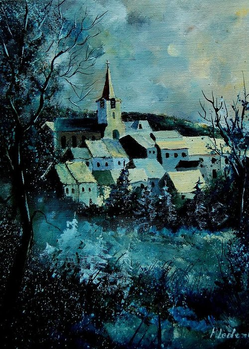River Greeting Card featuring the painting Village In Winter by Pol Ledent