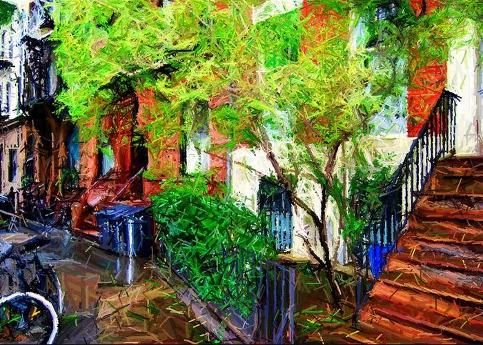 Greenwich Village Greeting Card featuring the digital art Village Life Sketch by Randy Aveille