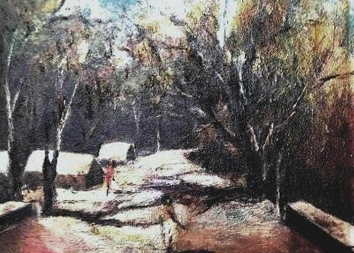 Landscape Greeting Card featuring the painting Village Road-3 by Prakash Sree S N