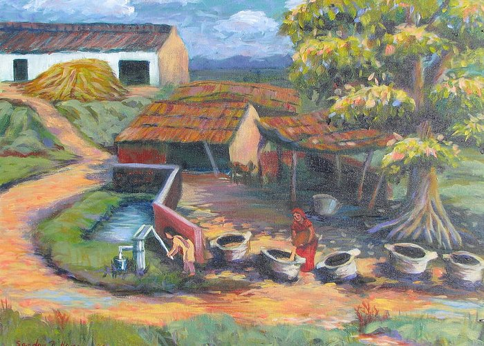 Art Nomad Greeting Card featuring the painting Village Stables by Art Nomad Sandra Hansen
