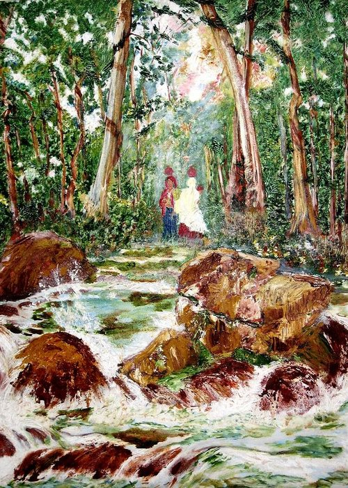 Village Greeting Card featuring the painting Village Stream by Narayan Iyer
