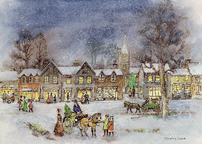Night; Evening; Christmas; Snowing; Winter; Horse And Carriage; Victorian; Shop Greeting Card featuring the painting Village Street In The Snow by Stanley Cooke