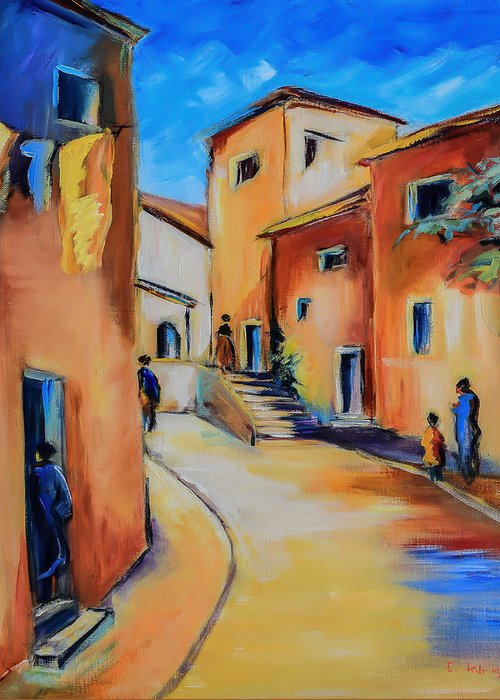 Mediterranean Greeting Card featuring the painting Village Street In Tuscany by Elise Palmigiani