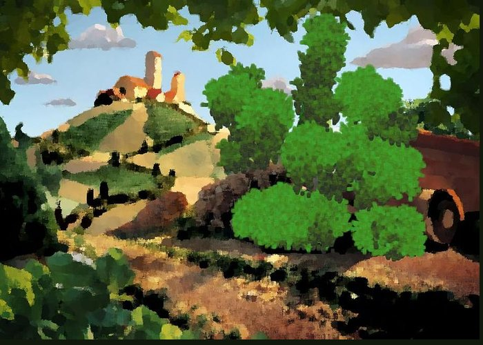 Village Old Road.trees.bushes.hill.littlt Tower.houses.farm.sky.clouds Greeting Card featuring the digital art Village. Tower On The Hill by Dr Loifer Vladimir