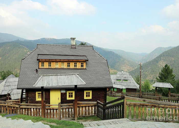 House Greeting Card featuring the photograph Village With Wooden Houses On Mountain by Goce Risteski