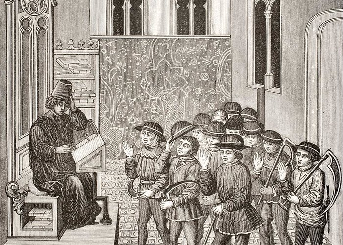 Historical Greeting Card featuring the drawing Villains Receiving Their Lord S Orders by Vintage Design Pics