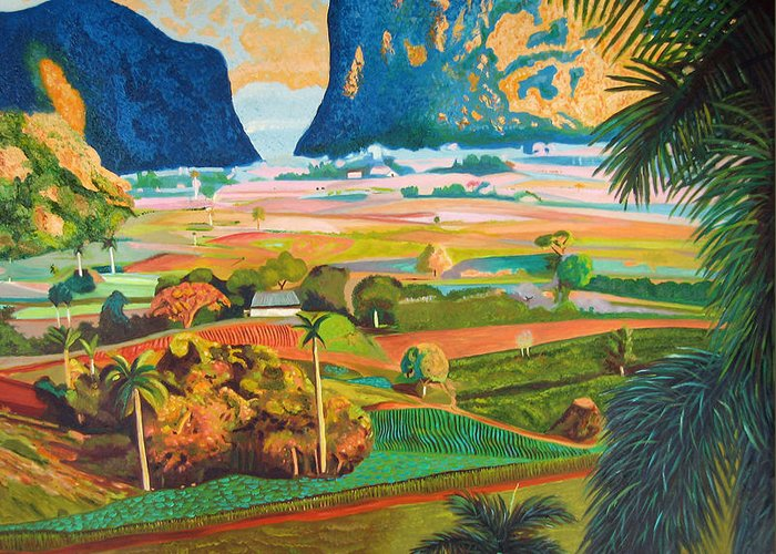 Cuban Art Greeting Card featuring the painting Vinales by Jose Manuel Abraham