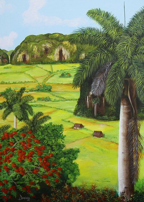 Cuban Landscape Greeting Card featuring the painting Vinales Valley by Dominica Alcantara