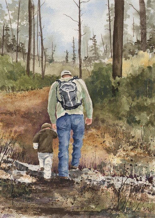 Walk Greeting Card featuring the painting Vince And Sam by Sam Sidders