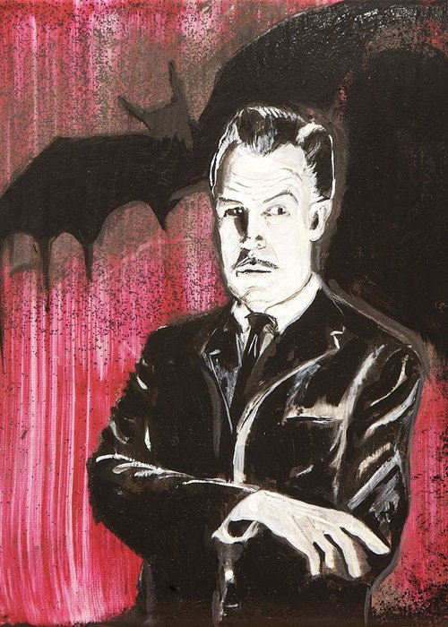 Vincent Price Greeting Card featuring the painting Vincent Price No. 3 by Christopher Chouinard