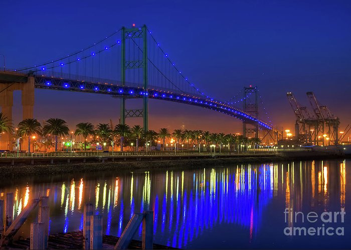 Vincent Greeting Card featuring the photograph Vincent Thomas Bridge by Eddie Yerkish