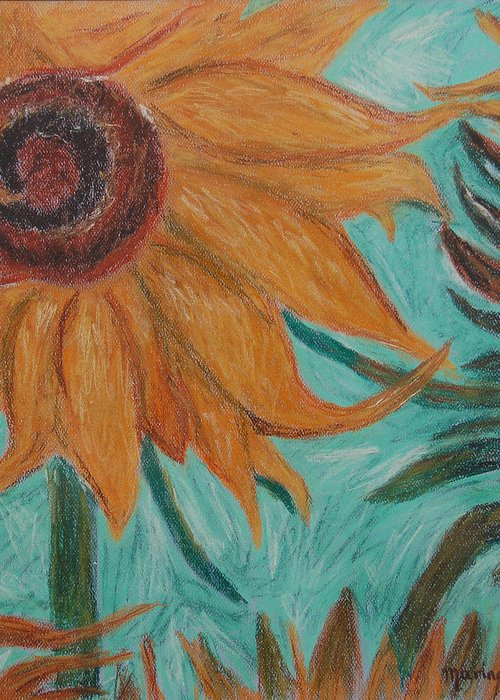 Sunflower Greeting Card featuring the pastel Vincent's Sunflower by Marina Garrison
