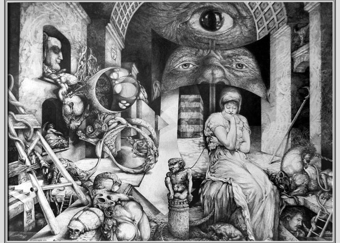 Surrealism Greeting Card featuring the drawing Vindobona Altarpiece IIi - Snakes And Ladders by Otto Rapp