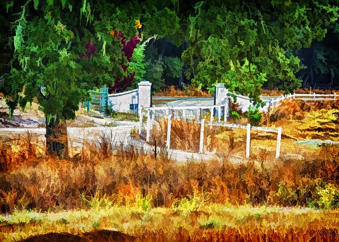 California Greeting Card featuring the digital art Vineyard Gate by Patricia Stalter