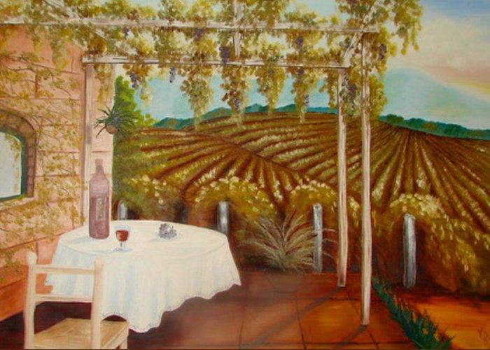 Vineyard Greeting Card featuring the painting Vineyard II by Karen R Scoville