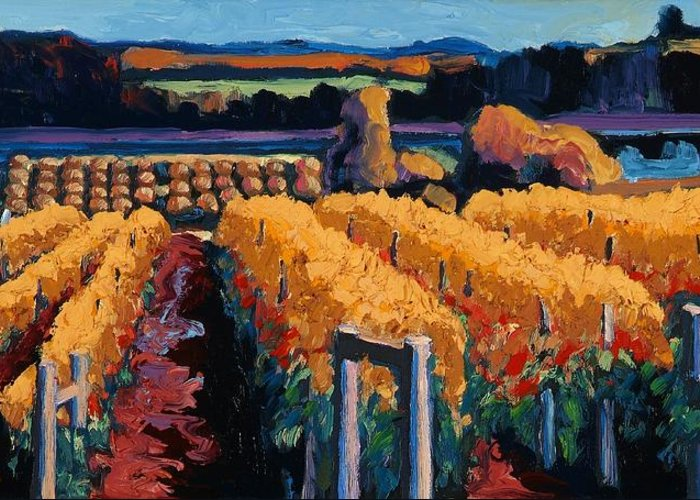 Wine Art Greeting Card featuring the painting Vineyard Light by Christopher Mize