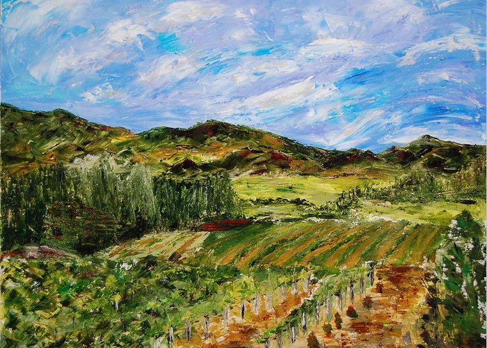 Landscape Greeting Card featuring the painting Vineyard Solitude by Deborah Gall