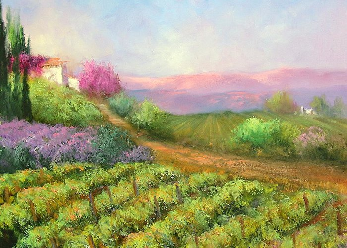 Vineyard Greeting Card featuring the painting Vineyard Spring by Sally Seago