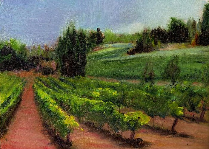 Vineyard Greeting Card featuring the painting Vineyard Under Glass by Nancy Atherton Cheadle
