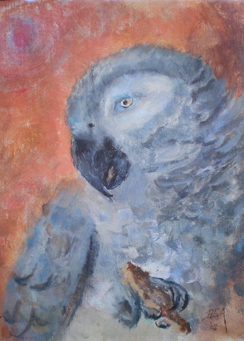 African Grey Parrot Greeting Card featuring the painting Vinny by Bryan Alexander