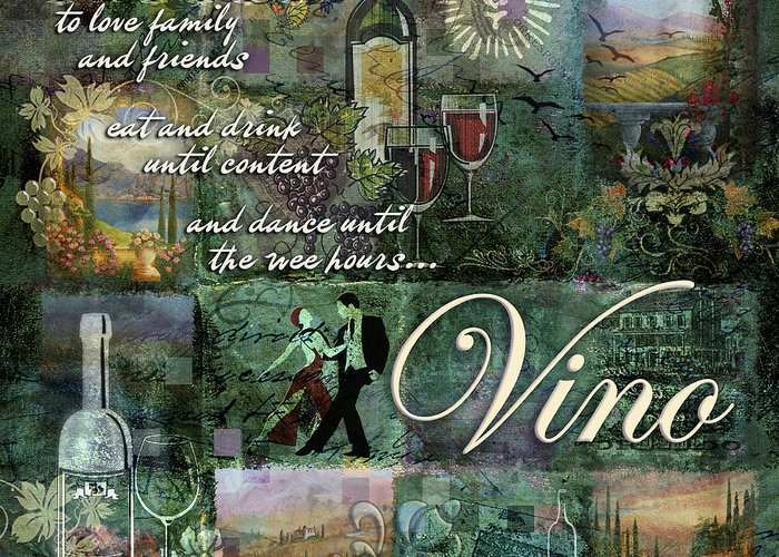 Vino Greeting Card featuring the digital art Vino by Evie Cook