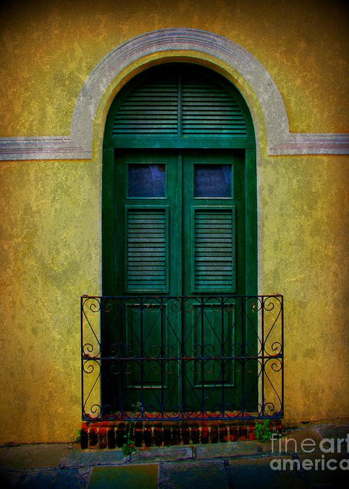 Door Greeting Card featuring the photograph Vintage Arched Door by Perry Webster