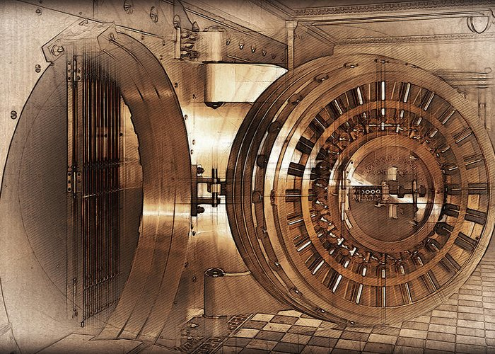 Front View - Vintage Bank Vault Door And Lock No. 1 Greeting Card For Sale By