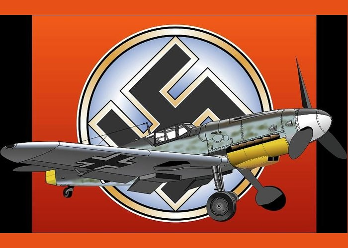 Vintage Aircraft Greeting Card featuring the digital art Vintage Bf 109 by William Pounds