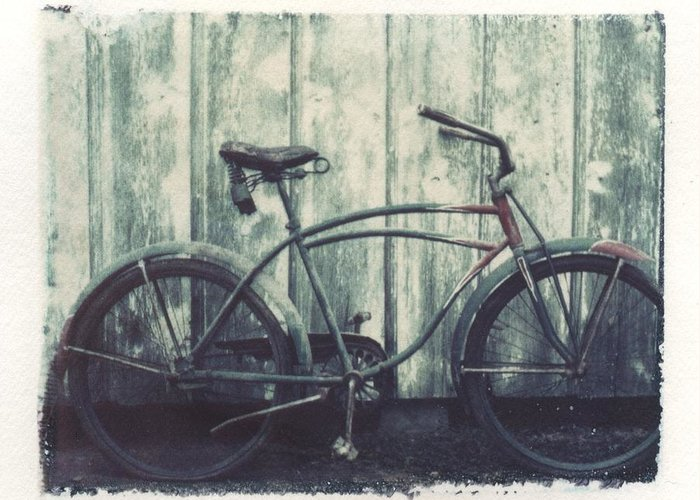 Polaroid Transfer Greeting Card featuring the photograph Vintage Bike Polaroid Transfer by Jane Linders