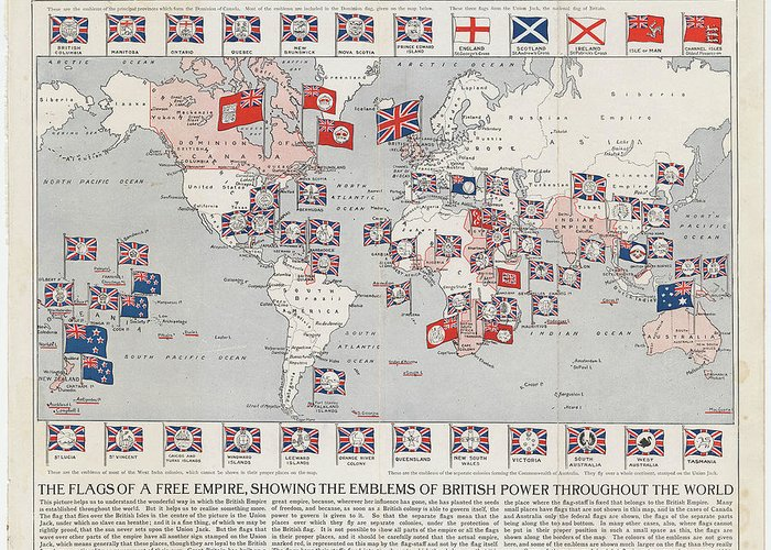 Vintage British Empire World Map   1910 Greeting Card for Sale by