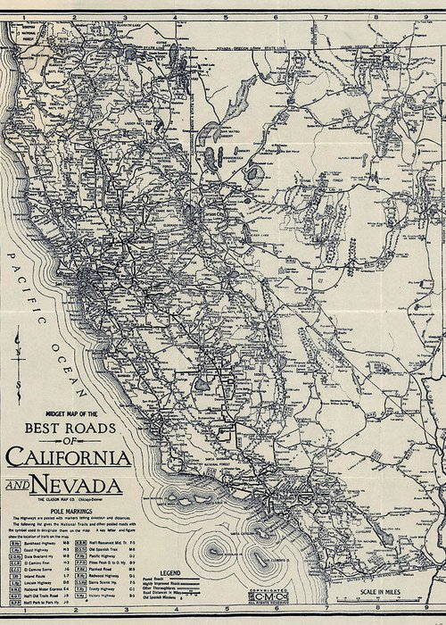 Vintage California And Nevada Road Map Greeting Card