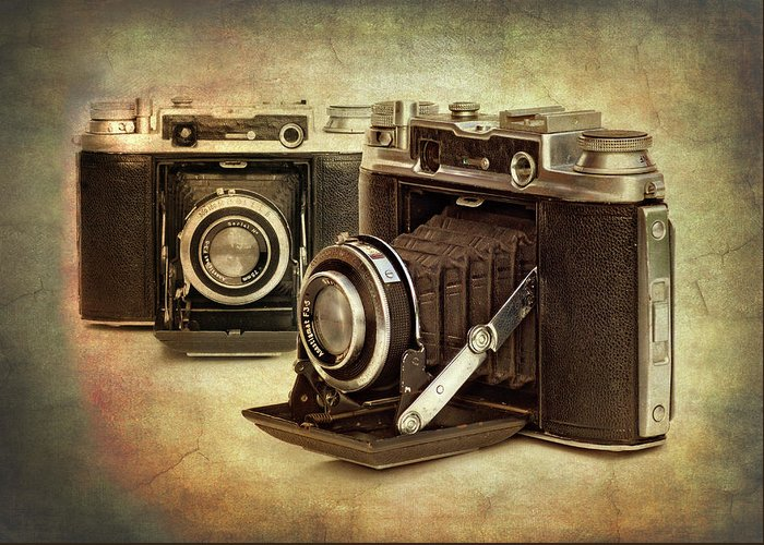 1945 Greeting Card featuring the photograph Vintage Cameras by Meirion Matthias