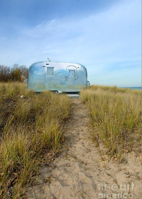 Trailer Greeting Card featuring the photograph Vintage Camping Trailer Near The Sea by Jill Battaglia