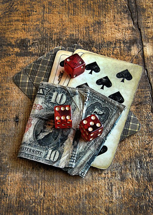 Cards Greeting Card featuring the photograph Vintage Cards Dice And Cash by Jill Battaglia