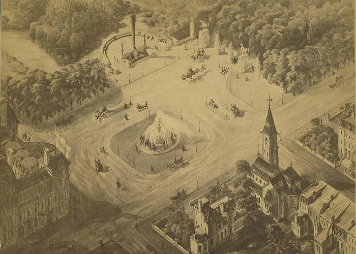 Central Park Greeting Card featuring the drawing Vintage Central Park Entrance Illusration - 1865 by CartographyAssociates