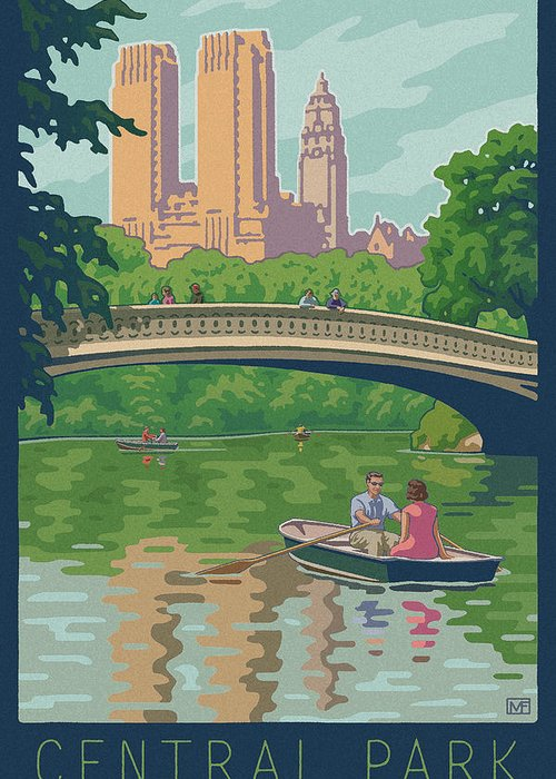 Bow Bridge Greeting Card featuring the digital art Vintage Central Park by Mitch Frey