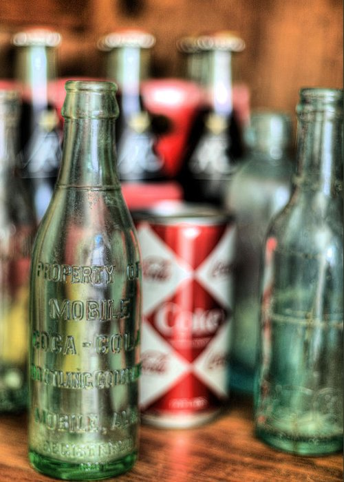 Vintage Coca Cola Coca-cola Bottle Bottles Can Cans Antique Mobile Alabama Bottling Company Al Diamond Pattern Chic Back When Greeting Card featuring the photograph Vintage Chic by JC Findley