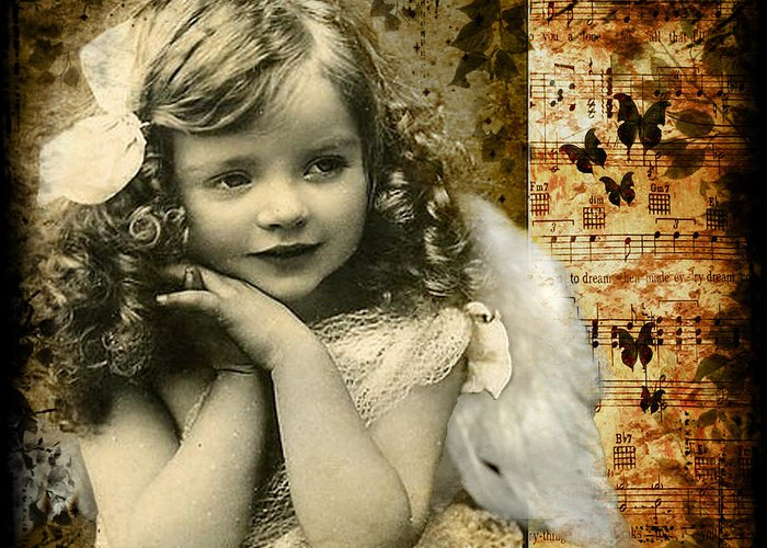 Cute Greeting Card featuring the photograph Vintage Collage 22 by Angelina Cornidez