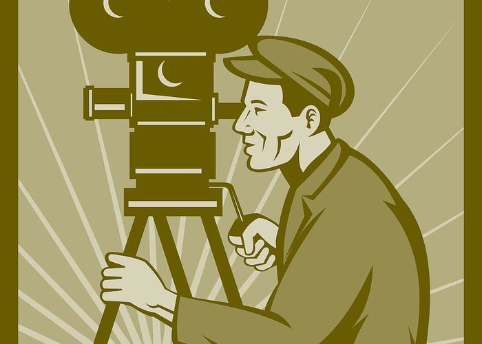 Camera Greeting Card featuring the digital art Vintage Film Camera Director by Aloysius Patrimonio